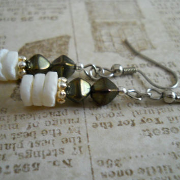 Dark Cocoa Silver Gray Glass Earrings White Heishi Shell Antiqued Grey Beaded Jewelry