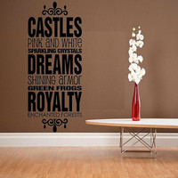 vinyl wall decal quote Castles pink white by WallDecalsAndQuotes