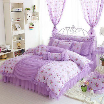 Princess bedclothes 100% cotton bedding set bed skirt lace style wedding bed set duvet cover set king queen full size doublebed