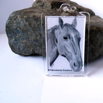 Horse key chain pencil sketch drawing print Gunilla Wachtel art giclee