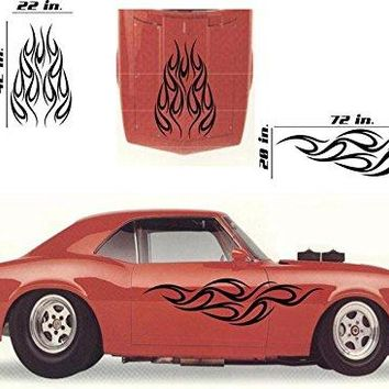 Tribal Flame Car Decals Hood Decal Side Set Vinyl Sticker Auto Decor Graphic Kit HF040