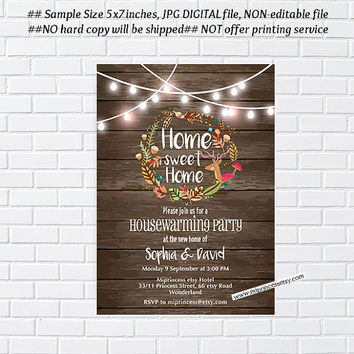 Rustic Fall, autumn , Fall housewarming party invitation, New house,  home sweet home, housewarming - card 1010