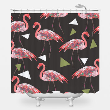Funky Flamingos on Black Shower Curtain
