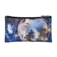 Blue Ice Christmas Ornament Makeup Bag