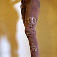 Vision leggings, Women pants, with gold patch and cut out