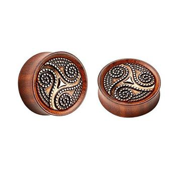 BodyJ4You Plugs Organic Solid Wood Tribal Swirl Saddle Ear Gauge 19mm Piercing Jewelry