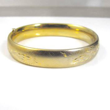 Victorian Bangle Bracelet, Engraved Etched Gold Floral Leaves, 14K Yellow Gold Filled, Antique Victorian Jewelry