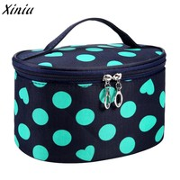 Hot Fashion Novelty Dot Series Portable Cosmetic Bag PVC Multi Functional bag Water resistant travel toilet bag 2018