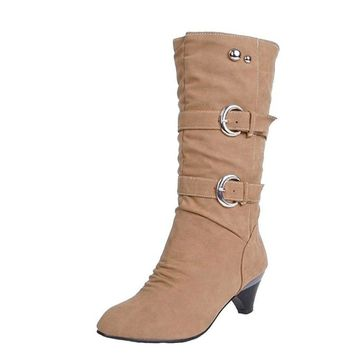 Low Heels Buckle Mid-Calf Boots