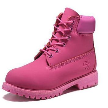 DCK7YE Best Deal Online Timberland 10061 Leather Lace-Up Boot Men Women Shoes Pink