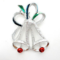 Vintage Christmas Bell Brooch Silver Enamel Bow Gerry's Holiday Pin