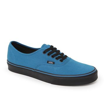 Vans Authentic Black Sole Shoes - Mens Shoes - Blue