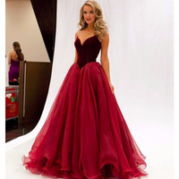 2016  Burgundy Special Occasion Prom Dresses Ball Gown Sweetheart Off The Shoulder dress for graduation fast shipping