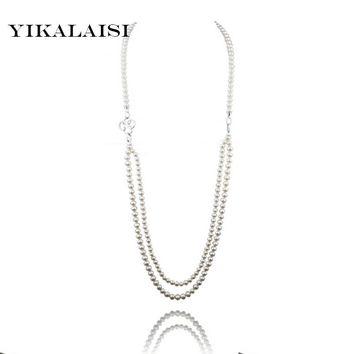 925 Silver Long Natural Customized Length Freshwater Cultured Pearls Necklace