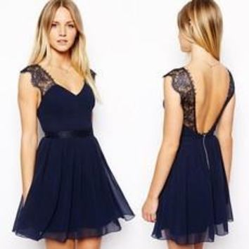 New 2014 Summer Casual Dress European Exclusive Sexy Lace Halter Chiffon Dress Sleeveless Vest Women Dress (Color: Navy blue) [7897698695]