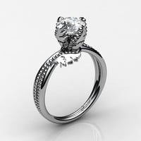 Swan 14K White Gold 1.0 Ct Russian Ice CZ Fairy Engagement Ring R1029-14KWGRICZ