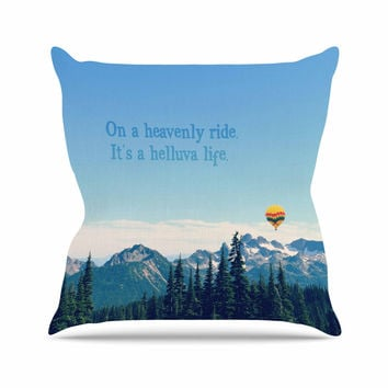 "Robin Dickinson ""It's A Helluva Life"" Blue Mountain Throw Pillow"