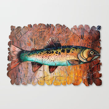 Vintage Red Trout Fresco by - OLena Art Canvas Print by Lena Owens/OLenaArt