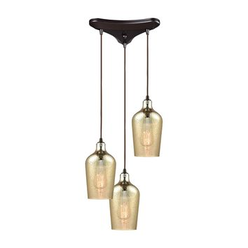 Hammered Glass 3 Light Triangle Pan Fixture In Oil Rubbed Bronze With Hammered Amber Plated Glass