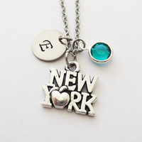 New York Necklace, I Love New York, NYC, NY Vacation Travel Gift, Swarovski Birthstone, Silver Initial, Personalized, Monogram, Hand Stamped