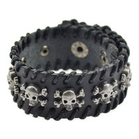 New Genuine Men Leather Skulls Bracelet
