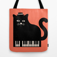 Cool Cat On Piano Tote Bag by Budi Satria Kwan