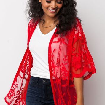 Hopelessly Devoted Lace Kimono in Red