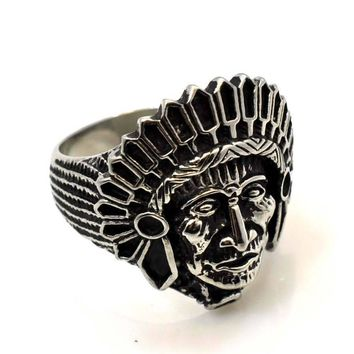 NEW US SELLER STAINLESS STEEL NATIVE AMERICAN INDIAN CHIEF APACHE RING RS130S