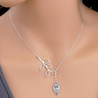 Owl and Leaf Lariat Necklace
