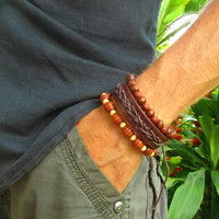 Leather & Wooden Beaded Bracelets / Stretchy Bracelets / 3 Mens Bracelets / Hippie Surfer Bracelet / Mens Leather Cuff / Stackable Bracelets