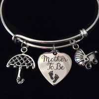 Mother to Be Umbrella Baby Carriage Silver Expandable Charm Bracelet Adjustable Wire Bangle New Mom Shower Gift
