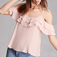 Lush Crepe Open-Shoulder Top