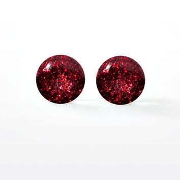 Vampire's Kiss Glitter Resin Studs - Dark Blood Red - Sparkly Goth Glam Rock - Surgical Steel Post Earrings