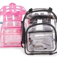 Heavy Duty Clear Backpack 3 Sizes Black or Pink