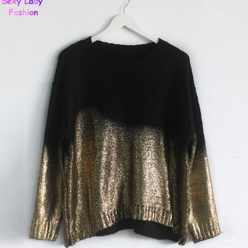 PUNK Retro Contrast Gradient Bronzing Golden Color Print Knit Sweater Women's Batwing Sleeve Loose Pullover Sweater Knitwear