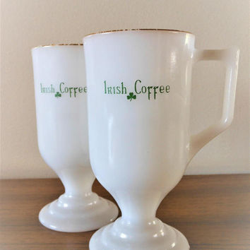 Two Milk Glass Irish Coffee Mugs,  Pair Mid Century Irish Coffee Cups, Shamrock Mugs