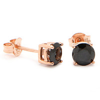 Rose Gold Black Round Brilliant Sterling Silver CZ Stud Earrings
