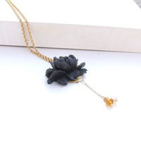 Black Rose Floral Cabochon Long Crystal Necklace, Long Gold Chain, Floral Necklace, Vintage Style Rose Necklace