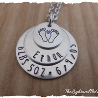 Personalized Hand stampd jewelry - new mom stacking charms custom for boy, girl and with names and birth details -  new mom gift