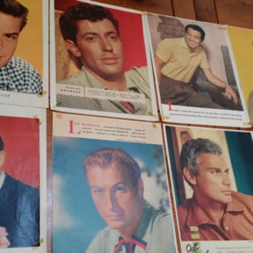 Set of 9 1950s Male Heartthrob Movie Star Celebrity Photos Clipped Magazine Pages Great for Framing Decor Altered Art Collage Mulitmedia