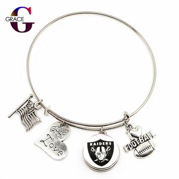 Oakland Raiders Team Sports Adjustable I Love Football Expandable Women Bracelets Bangle With 18mm Ginger Glass Snaps Buttons