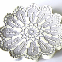 Ceramic Flower Plate Oval Shape Purple White Dish by Ceraminic