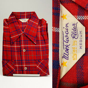 RARE NOS Deadstock Vintage Mens 40s Mark Twain Woven Red Blue Plaid Loop Collar Long Sleeve Medium