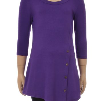Girl's Purple Dress Asymmetric Tunic Top: S/M/L/XL