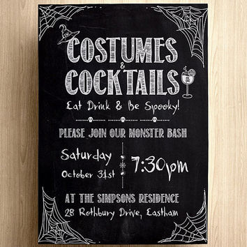 Halloween invite, Halloween invitation, invitation Halloween, halloween, halloween party, halloween chalkboard, costumes and cocktails