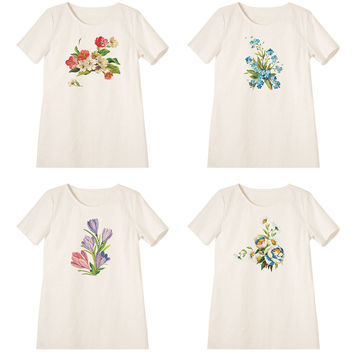 Women's Pots of Flowers Printed Linen Vintage Mini Shift Dress WDS_06