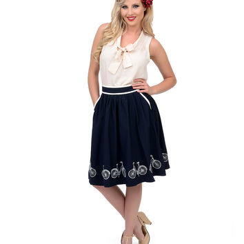 Navy & Cream Bicycle Embroidered High Waist Swing Skirt