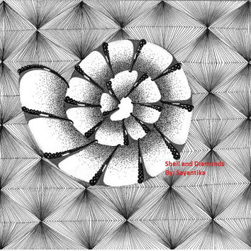 Shell and Diamonds - 9x12 Zentangle drawing / Zentangle Art spiral black and white Abstract illustration Archival print