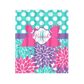 Princess SHOWER CURTAIN Girl Monogram Personalized Turquoise Hot Pink Sister Bathroom Shared Beach Towel Plush Bath Mat Made in Usa