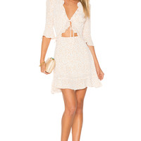 For Love & Lemons Nostalgic Tie Front Dress in White Star